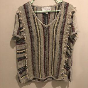 Paper crane striped bohemian shirt top tan